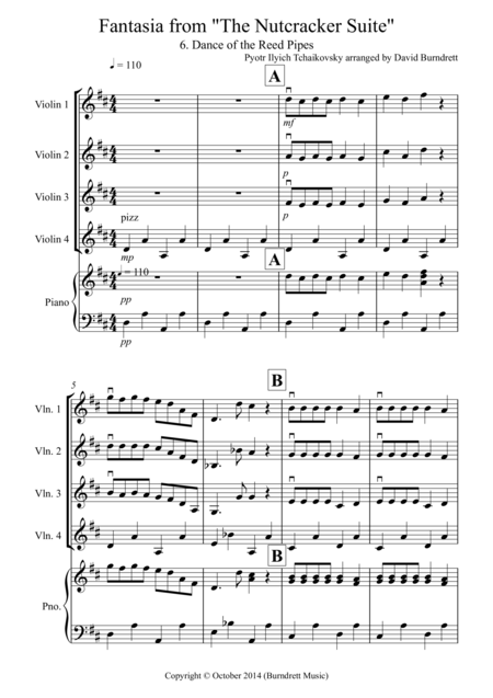 Dance of the Reed Pipes (fantasia from Nutcracker) for Violin Quartet