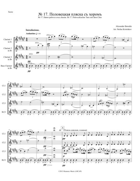 Alexander Borodin, Polovtsian Dances No.17, Arranged for Clarinet Quartet