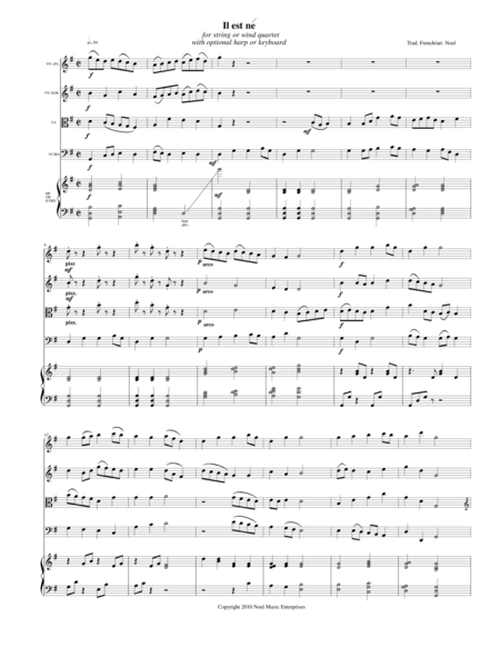 Il est ne (He Is Born) score, arranged for string quartet or flute quartet with optional harp or keyboard