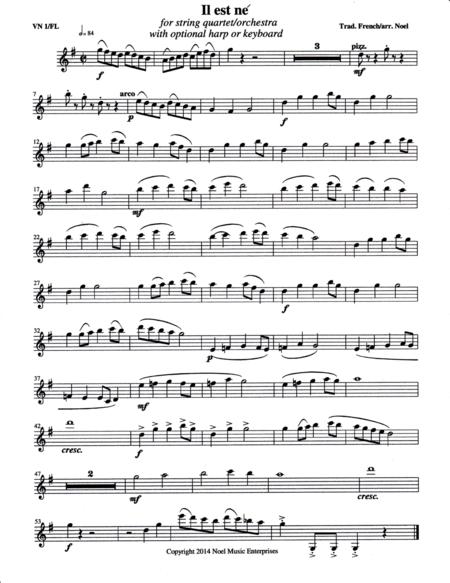 Il est ne (He Is Born) parts, arranged for string quartet or flute quartet with optional harp or keyboard