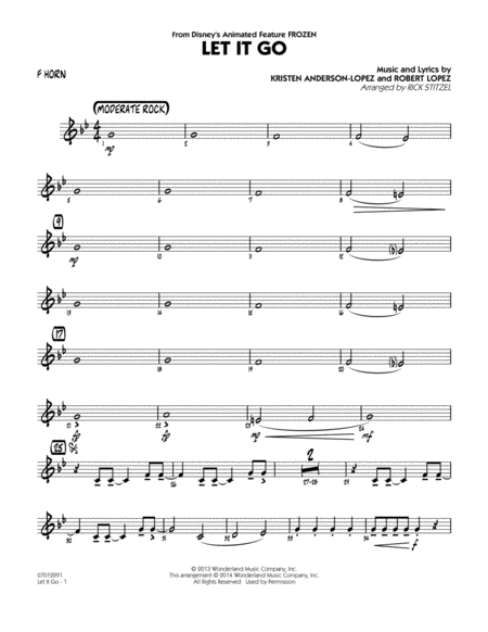 Let It Go (from Frozen) - F Horn