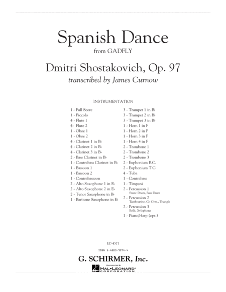 Spanish Dance (from The Gadfly) - Conductor Score (Full Score)
