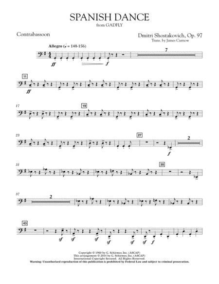 Spanish Dance (from The Gadfly) - Contrabassoon