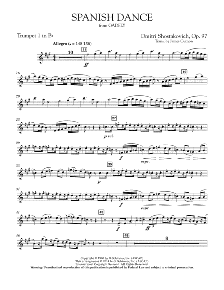 Spanish Dance (from The Gadfly) - Bb Trumpet 1