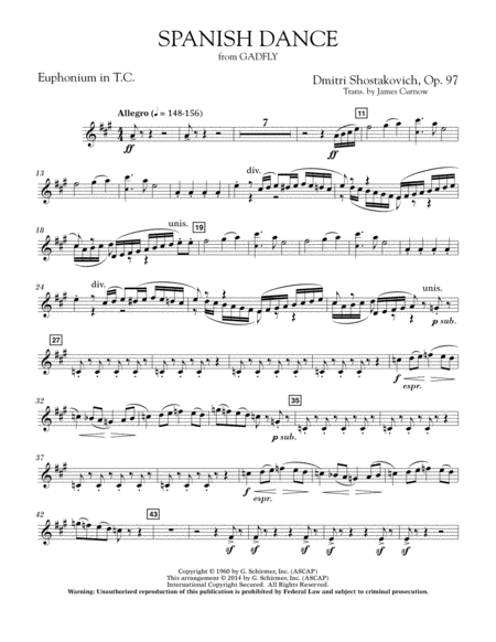 Spanish Dance (from The Gadfly) - Euphonium in Treble Clef