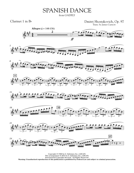 Spanish Dance (from The Gadfly) - Bb Clarinet 1