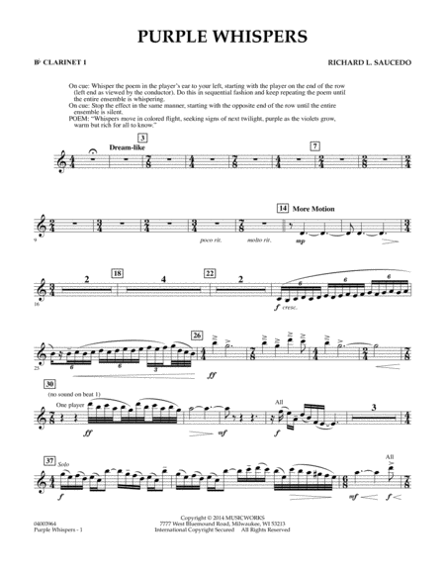 Purple Whispers - Bb Clarinet 1