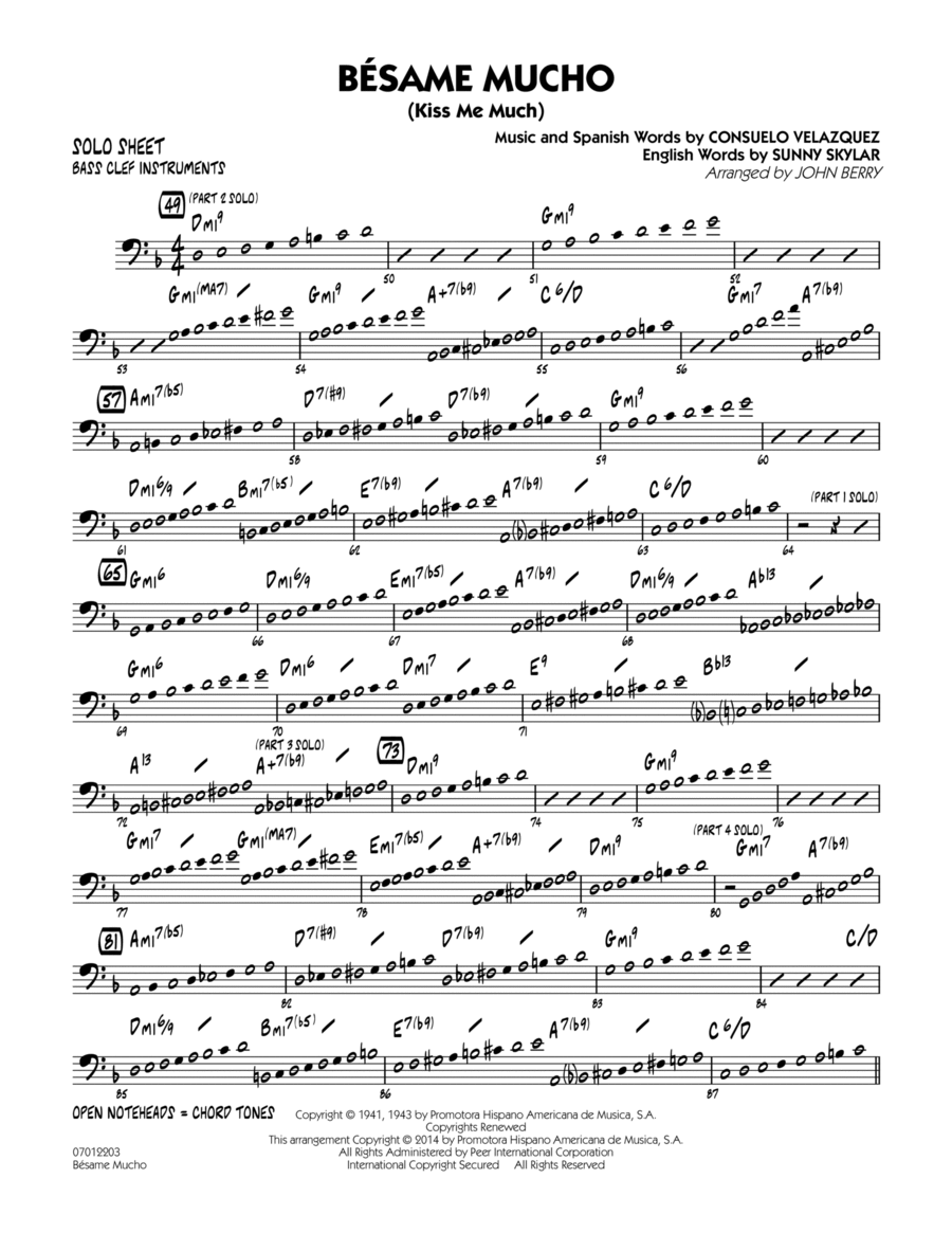 Besame Mucho (Kiss Me Much) - Bass Clef Solo Sheet