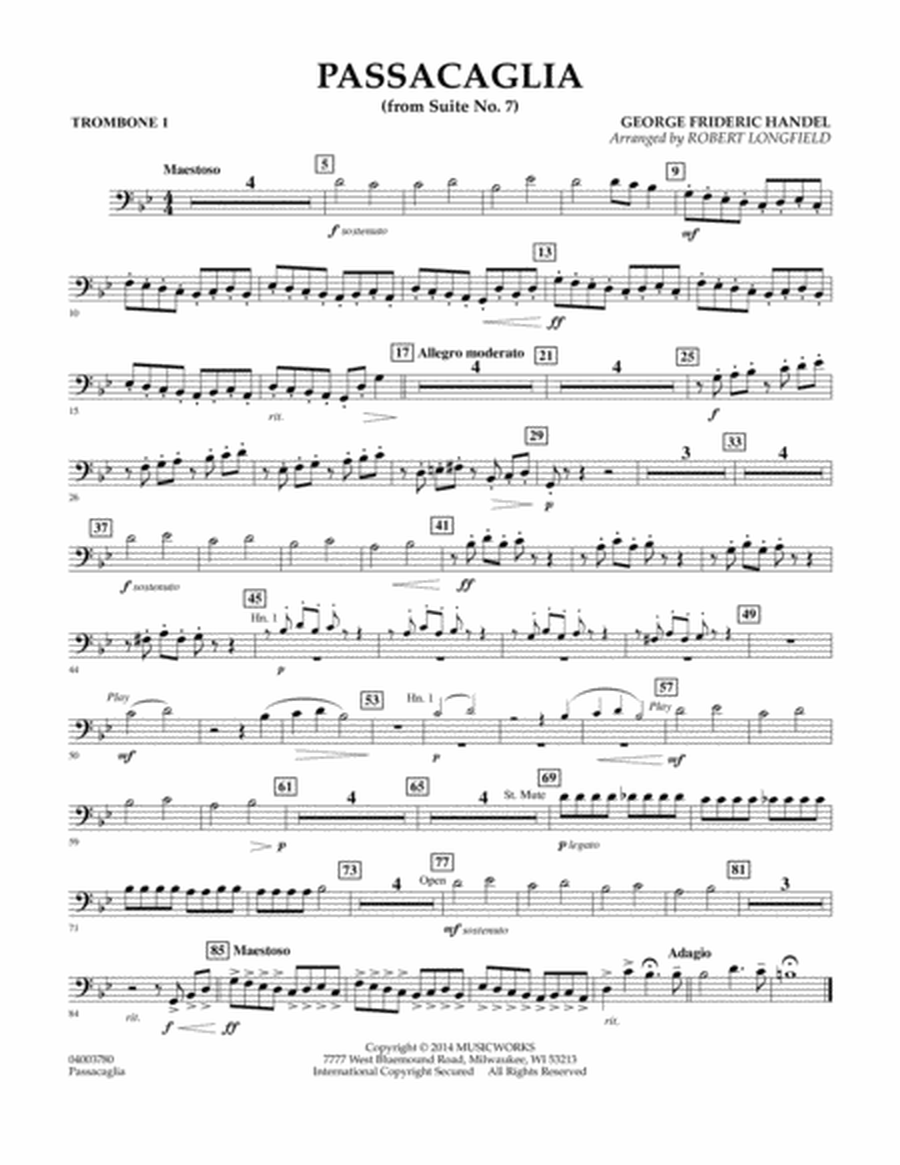 Passacaglia (from Suite No. 7) - Trombone 1