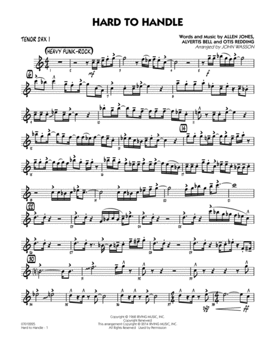 Hard to Handle - Tenor Sax 1