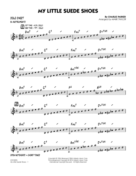 My Little Suede Shoes - Bb Solo Sheet