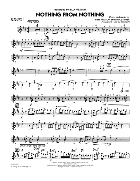 Nothing from Nothing - Alto Sax 1