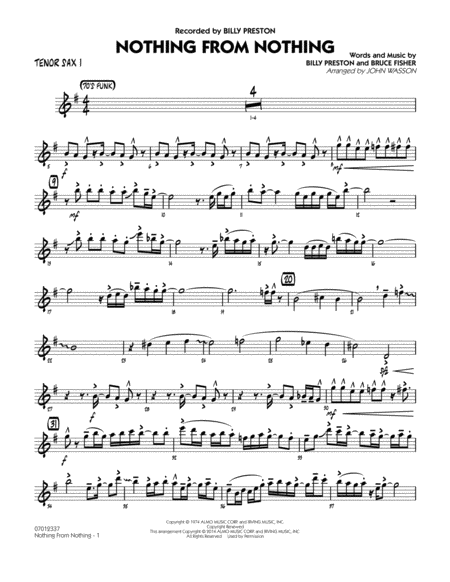 Nothing from Nothing - Tenor Sax 1