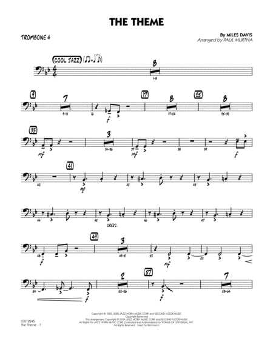 The Theme - Trombone 4