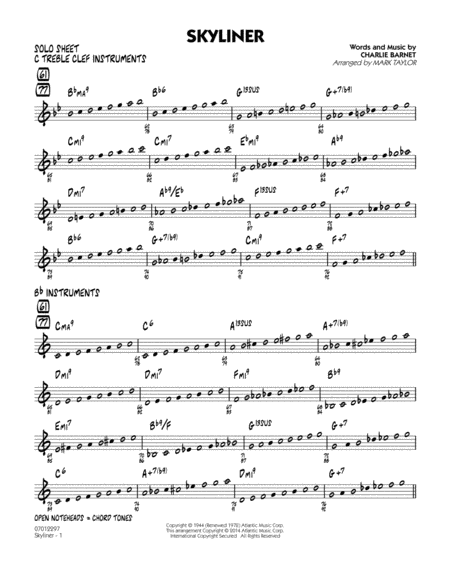 Skyliner - Solo Sheet