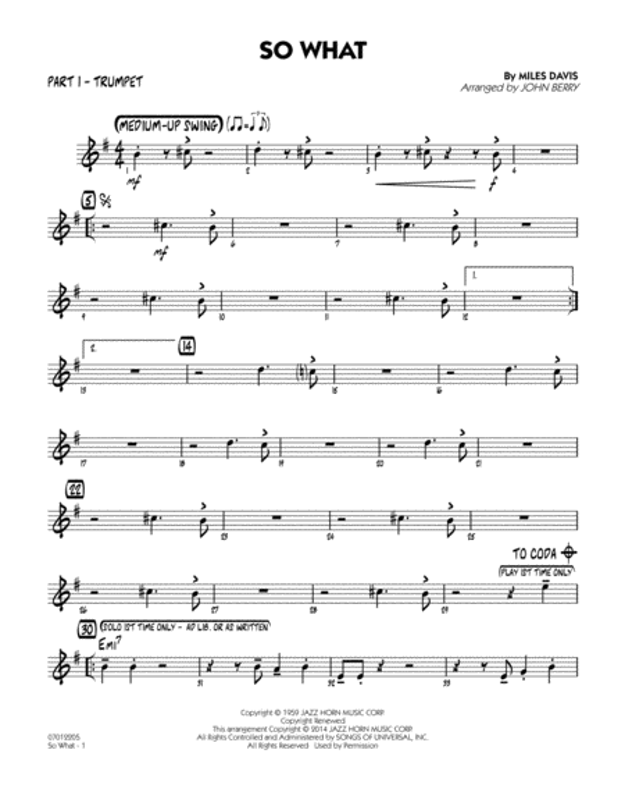 So What - Part 1 - Bb Trumpet