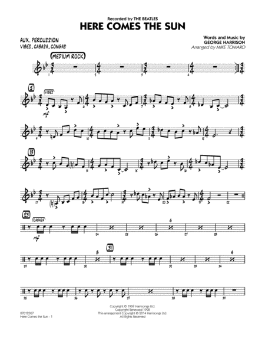 Here Comes the Sun - Aux Percussion