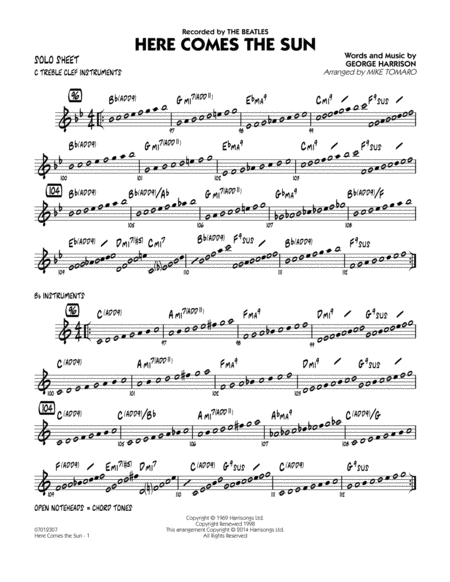 Here Comes the Sun - Solo Sheet