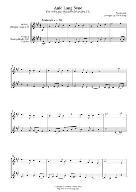 Auld Lang Syne (for violin duet, suitable for grades 2-6)