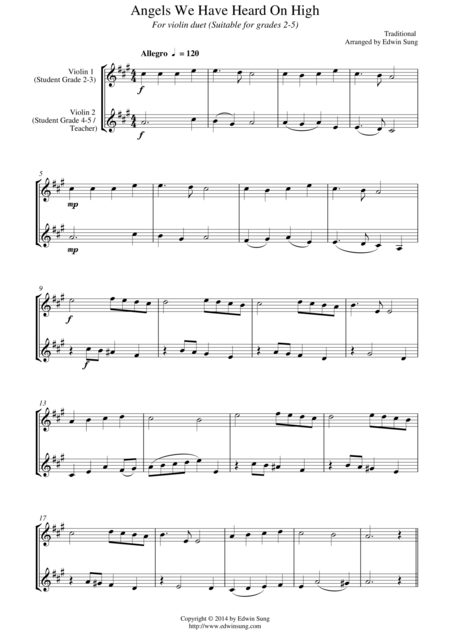 Angels We Have Heard On High (for violin duet, suitable for grades 2-5)