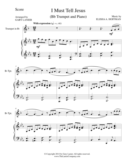 I MUST TELL JESUS (Bb Trumpet/Piano and Trumpet Part)