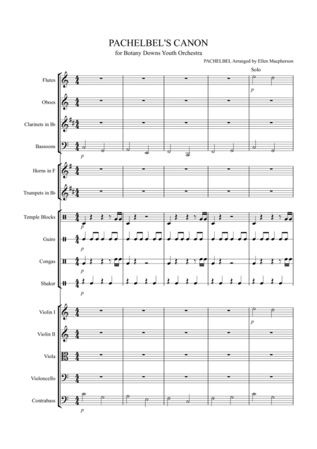 Pachelbel's Cannon - for Youth Orchestra - score plus all parts included