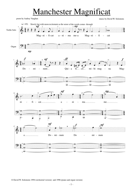 Manchester Magnificat - version for choir, soloists, piano and organ