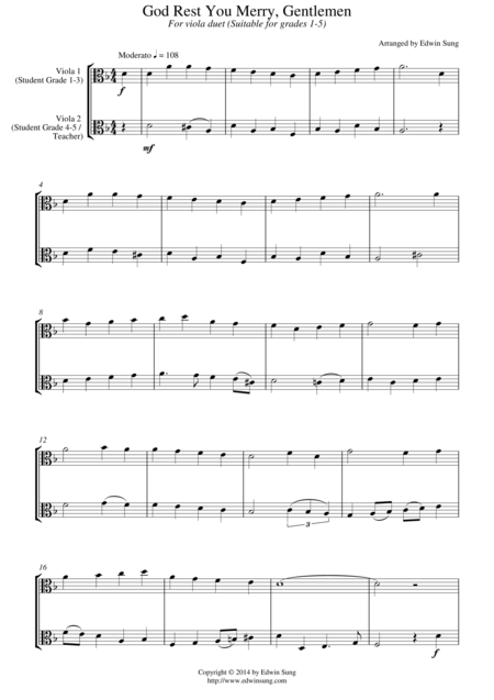 God Rest You Merry, Gentlemen (for viola duet, suitable for grades 1-5)