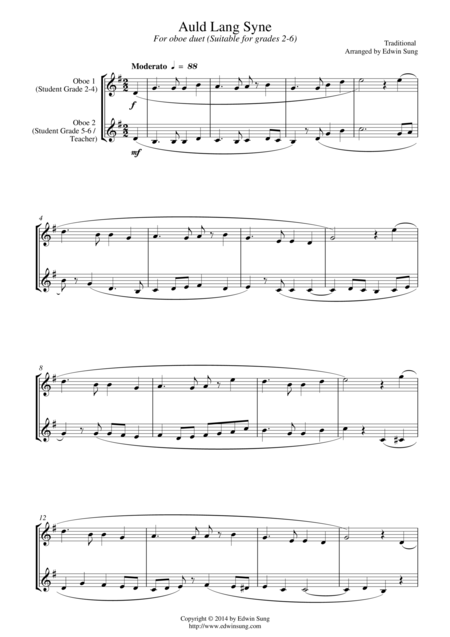 Auld Lang Syne (for oboe duet, suitable for grades 2-6)