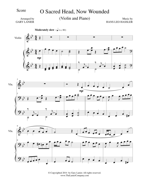 O SACRED HEAD, NOW WOUNDED (Violin/Piano and Violin Part)