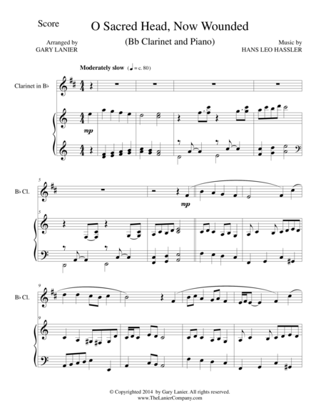O SACRED HEAD, NOW WOUNDED (Bb Clarinet/Piano and Clarinet Part)
