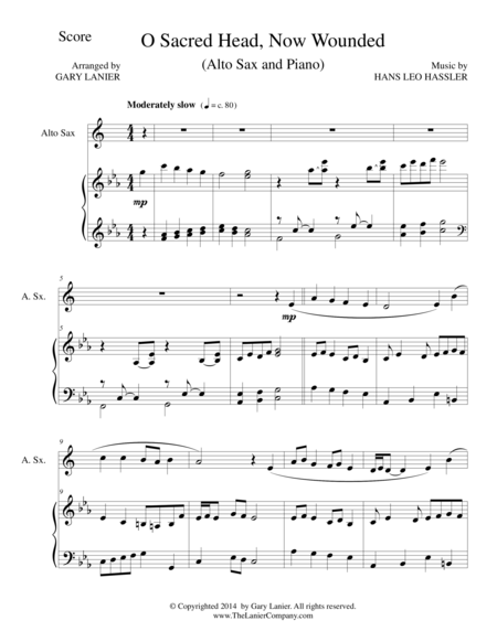 O SACRED HEAD, NOW WOUNDED (Alto Sax/Piano and Sax Part)