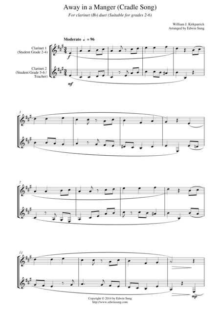 Away in a Manger (Cradle Song) (for clarinet (Bb) duet, suitable for grades 1-5)
