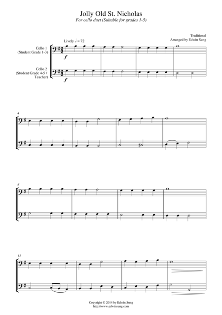 Jolly Old St. Nicholas (for cello duet, suitable for grades 1-5)