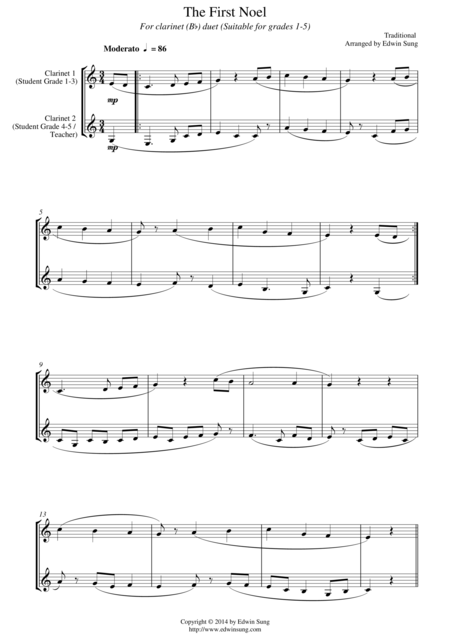 The First Noel (for clarinet(Bb) duet, suitable for grades 1-5)