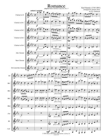 Romance (for clarinet choir- adapted from