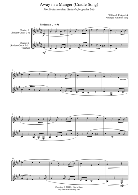 Away in a Manger (Cradle Song) (for Eb-clarinet duet, suitable for grades 2-6)