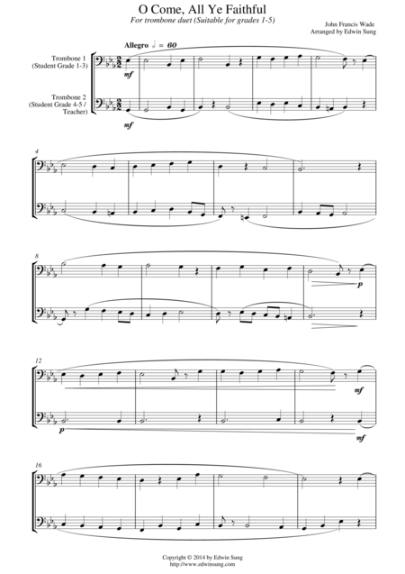 O Come, All Ye Faithful (for trombone duet, suitable for grades 1-5)