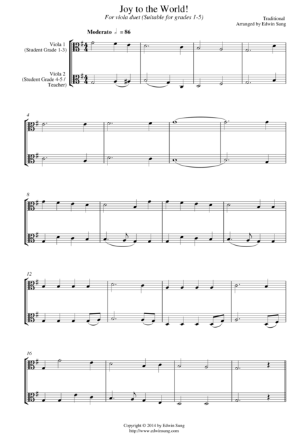 Joy to the World (for viola duet, suitable for grades 1-5)