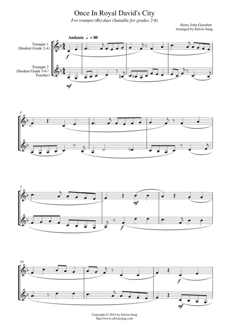 Once In Royal David's City (for trumpet (Bb) duet, suitable for grades 2-6)