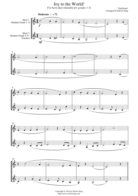 Joy to the World (for horn duet, suitable for grades 1-5)