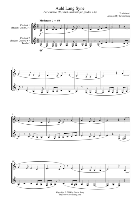 Auld Lang Syne (for clarinet (Bb) duet, suitable for grades 2-6)