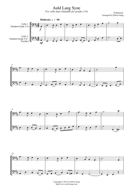 Auld Lang Syne (for cello duet, suitable for grades 2-6)