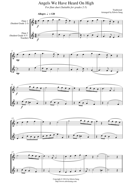 Angels We Have Heard On High (for flute duet, suitable for grades 2-6)
