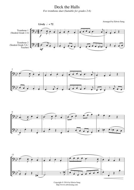 Deck the Halls (for trombone duet, suitable for grades 2-6)