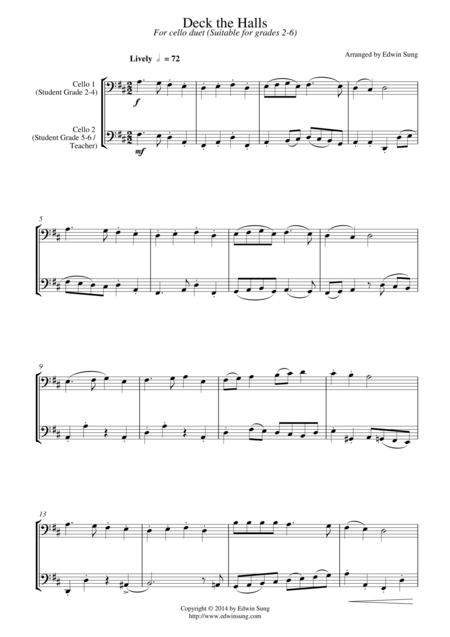 Deck the Halls (for cello duet, suitable for grades 2-6)