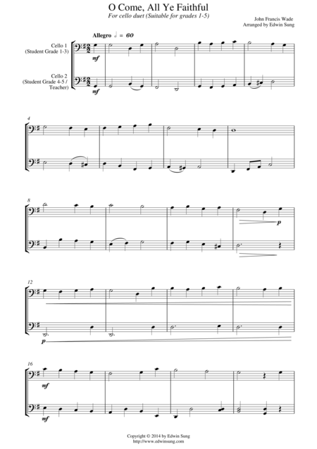 O Come, All Ye Faithful (for cello duet, suitable for grades 1-5)
