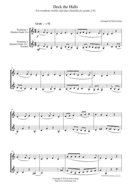 Deck the Halls (for trombone duet (treble clef), suitable for grades 2-6)