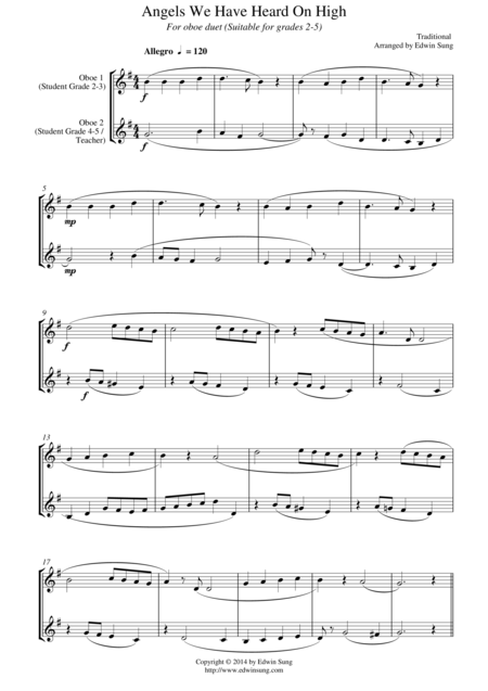 Angels We Have Heard On High (for oboe duet, suitable for grades 2-6)