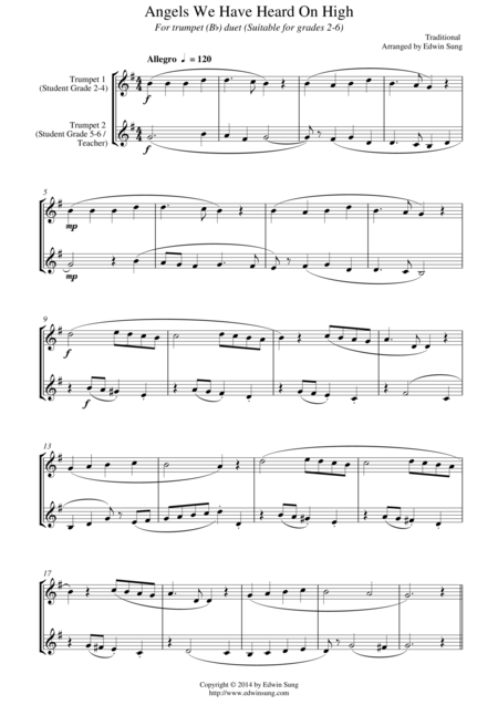 Angels We Have Heard On High (for trumpet (Bb) duet, suitable for grades 2-6)